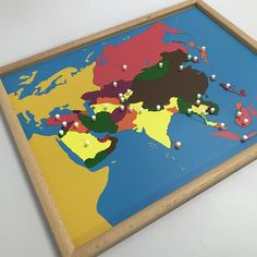Knobs on each puzzle piece are positioned on the capitals of the countries in Asia. Montessori Materials, Montessori Activities, Local Map, Asia Map, World Geography, Puzzle Pieces, Kids House, Toy Chest, Countries