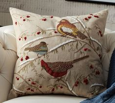 PB Bird pillow with berries