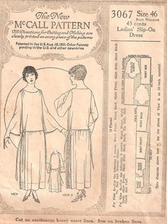 McCall 3067 from 1921  From Original Pre-1929 Historical Patterns on Tumblr--great resource!