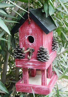 Red bird house feeder 237 by Forthebirdsandmore on Etsy Bird House Feeder, Bird Feeder, Bird Houses Diy, Bird Boxes, Yard Art, Bird Feathers, Beautiful Birds, Rustic, Decoration