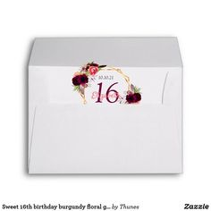 Shop Sweet birthday burgundy floral geometric gold envelope created by Thunes. Gold Envelopes, Custom Printed Envelopes, Sweet 16 Birthday, 16th Birthday, Milestone Birthdays, Thank You Notes, Stationary, Burgundy, Greeting Cards