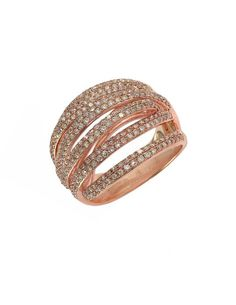 Diamond And 14K Rose Gold Ring, 1.05 TCW