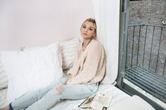 Emily Kinney, an actress and singer, has an apartment filled with zombie paraphernalia sent by fans. Emily Kinney, Ny Times, The Walking Dead, White Jeans, Beautiful Women, Nyc, Turtle Neck, Celebs, Singer