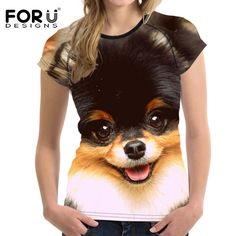 2018 New Cute Dog Pomeranian Prints T Shirt Women Casual Casual Office Fashion, Airbrush T Shirts, 3d Dog, Bodybuilding, Athleisure Trend, Look Fashion, Shirts For Girls, Casual Chic, Cute Dogs