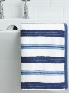 Blue Devon Stripe Hand Towel - bathroom - bathroom - essentials - For The  Home
