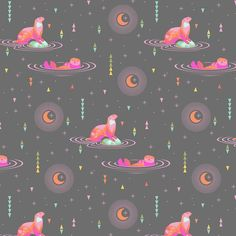 Tula Pink Spirit Animal Otter and Chill Starlight Geometric Triangles Stars Otters Cotton Fabricby Tula Pink for Free Spirit Fabrics.
