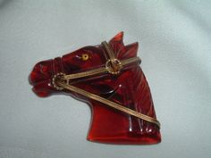 Vintage Tortoise Lucite Horse Head Hand Carved Brooch 1940's.