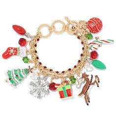 151-027 - Ritzy Couture by Esme Hecht Christmas Symbol Two-Strand Charm Bracelet