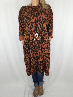 Lagenlook Leaf Print Easy Tunic in Rust code 3094 Leaf Prints ae7733b3bda5
