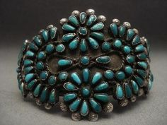 One of the Oldest Vintage Zuni/Navajo Turquoise Silver Bracelet