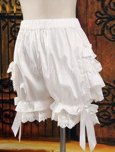 Lolitashow Süße Baumwolle Lolita Bloomers Layered gekräuselten Spitze-Ordnungs-Bogen-Band in Weiß