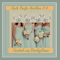 "Bridesmaids gifts for le$$ ! Gorgeous ""South Pacific"" #liasophia #necklace #bridesmaids #prom #wedding #bride #mint #green #sage #calcite #feldspar #grayagate #opalite Green Sage, Mint Green, Mint Jewelry, South Pacific, Wedding Bride, Bridesmaids, Prom, Gifts, Color"