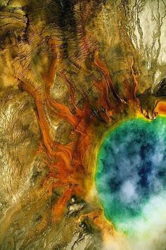 Landscape photography by Yann Arthus-Bertrand Grand Prismatic Spring, Yellowstone national park, Wyoming, United States (44°31' N, 110°50' W)