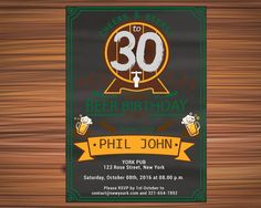 CHEERS and BEER BIRTHDAY Invitations 40th by UniqueGoldenCards Rose Street, Birthday Invitations, Cheers, Rsvp