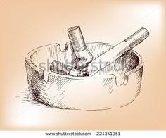 hand drawing  ashtray, nicotine smoke