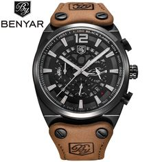>> Click to Buy << BENYAR Mens Military Watch Waterproof Chronograph Sport Outdoor Aviator Quartz Watches Real Leather Band  Army Male Clock     #Affiliate