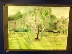 Acrylic landscape - the yard behind our studio actually.
