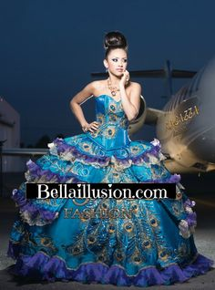 Peacock themed Quinceanera dress ~ love! Wow, can I have Ball for my party?