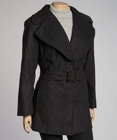 Take a look at this Black Belted Jacket - Plus by Fleet Street on #zulily today!