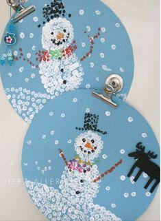 Weihnachtsbasteln mit Kindern - 15 Ideen - basteln mit Kindern - Weihnachten Bastelideen - Schneemann malen mit Kindern