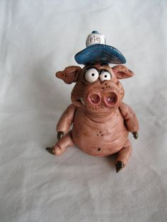 Pig Polymer Clay Sculpture Mr Pig E by mirandascritters on Etsy, $22.00