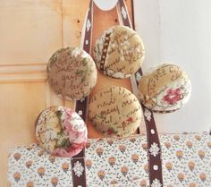 Fabric Buttons Script Buttons Fridge Magnets Beige by RetroNaNa, $5.80 North And South America, National Holidays, Brown Floral, Script, Magnets, Buttons, Beige, Fabric, Handmade