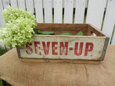 Vintage Seven Up soda wood shipping crate by OhioWoodandIronWorks