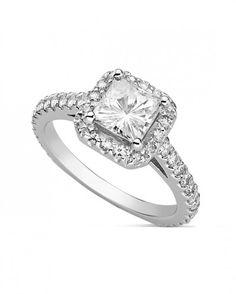 Mindy - 2.00ctw Square Forever Brilliant® Moissanite Ring, 14k White Gold (Ring Size 7.0)