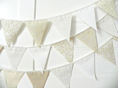 White Country Wedding Fabric Bunting Garland by AFeteBeckons, $20.25
