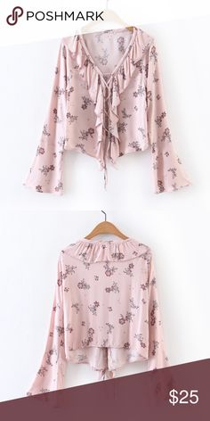 LIQUIDATING!! Floral Bell Sleeve Blouse lightweight, floral crop style design. Tops Blouses