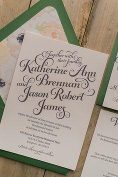 KATHRYN Suite Floral Package, green wedding invitations, floral wedding invitations, anemones, grey, blush, peach
