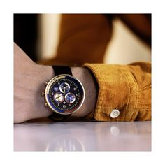 A modern British-designed men's chronograph watch inspired by the lavish opulence of Las Vegas casino culture. A brushed case holds luxe multicolour subdials. Latest Watches, Watches For Men, Black Watches, Leather Watches, Men's Watches, Black Italians, Striped Canvas, British Style, Italian Leather