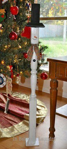 Stair rail snowman