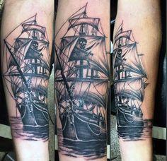 Ghost Pirate Ship Tattoo Men