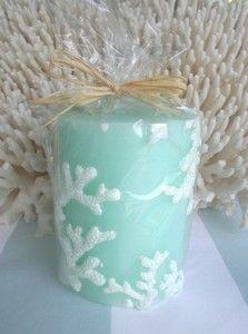 $12.95 Seafoam Pillar Embossed Coral Candle