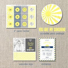 DIY Deluxe Printable Birthday Package. You Are My Sunshine Birthday COLLECTION. Customizable. totful memories. $35.00, via Etsy.