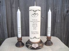 Beautiful quality personalised unity candle set, featuring a large central candle with a gorgeous interlocking heart design. The text reads: On this day I marry my best friend The one i Laugh with, dream with, live for & love  There is then space below for the Bride and Grooms names