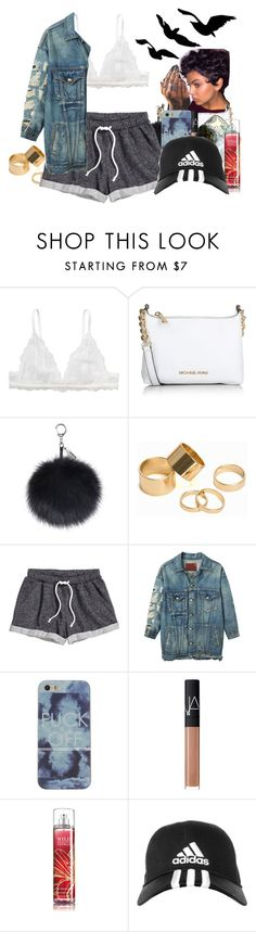 """Niggkas Gonna Be Niggkas"" by denise-loveable-bray ❤ liked on Polyvore featuring Monki, Michael Kors, Pieces, H&M, R13, NARS Cosmetics, adidas, women's clothing, women and female"