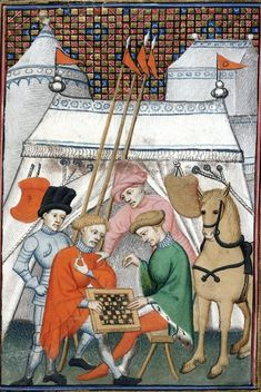 """A game of chess. Christine de Pizan, 'L'Épître Othéa' in BL Harley MS 4431 fol. 133: """"The Book of the Queen"""" (various works), c. 1410-14 (France - Paris), made for Isabeau of Bavaria, Queen of France. Presented to her as a New Year's gift, Jan 1414. Later owned by John, Duke of Bedford; his wife, Jacquetta of Luxembourg; her son by her 2nd husband, Anthony Woodville, 2nd Earl Rivers; Louis de Gruthuyse; Henry Cavendish, duke of Newcastle."""
