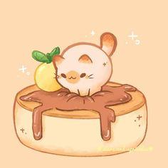 Drawing Share Cute Animal Drawings Kawaii, Cute Little Drawings, Kawaii Art, Cute Drawings, Cute Food Art, Cute Art, Image Chat, Kawaii Illustration, Dibujos Cute