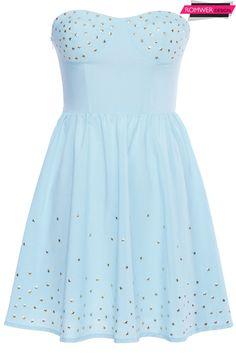 ROMWE | Golden Stars Embellished Blue Bandeau Dress, The Latest Street Fashion #ROMWEROCOCO