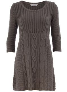 Petite grey cable knit dress