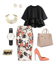 """Untitled #49"" by ashlijoy on Polyvore featuring River Island, Christian Louboutin, Daniel Wellington, Bisjoux, GUESS, Yves Saint Laurent, Kendra Scott, women's clothing, women and female"