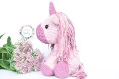 ♥ Welcome to my store ♥ Beautiful pink unicorn, an ideal gift for girls. This stuffed unicorn is crocheted with cotton wool, and the amigurumi technique. His hair is a soft rainbow color. It is a perfect toy for any child, or nursery decor. Stuffed Unicorn, Crochet Baby Toys, Gifts For Girls, Rainbow Colors, Nursery Decor, Wool, Etsy, Christmas Ornaments, Store
