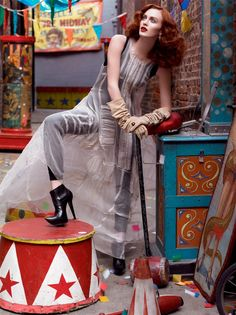Morning Beauty. Karen Elson looks ready for showtime at the circus, shot by Steven Meisel