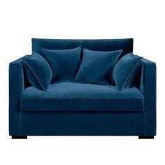 Canapé fixe 2 places NÉO KINKAJOU, velours,  AM.PM, coloris bleu paon - 712,30€ (Source : http://www.laredoute.fr/ppdp/prod-324498954.aspx?docid=00000000000001)