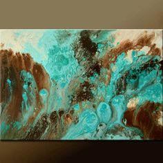 Abstract Canvas Art Painting 36x24 Original Contemporary Modern Wall Art Paintings by Destiny Womack - dWo - Turquoise Seas. $149.00, via Etsy.