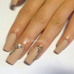 Matte Nude Leopard Nails With Rinestones