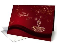 Diwali Greetings - decorative lamp on festive maroon backgroud card