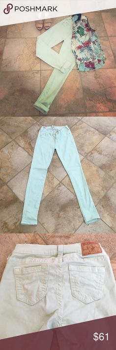 "True Religion mint skinny jeans EUC authentic True Religion mint colored skinny jeans. Hand washed & air dried. Only worn a handful of times. There is some threading coming up at the back interior waistband. An easy fix for a seamstress but doesn't compromise wear. Versatile wear options. Look adorable cuffed or with booties/boots. Waist 14"". Inseam 30"". Purchased at Nordstrom. True Religion Jeans Skinny"